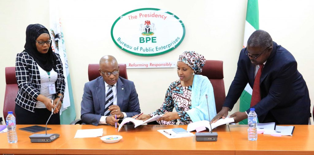 L-R: Hajiya Halima Halilu, General Counsel at the Bureau of Public Enterprises (BPE); Mr. Alex Okoh, Director General, BPE; Hajiya Hadiza Bala Usman Managing Director, Nigerian Port Authority (NPA); and Mr. Innocent Gamboro Umar, Company Secretary, NPA at the signing ceremony for the concessioning of Terminal B Warri Old Port between the concessioner – Ocean and Cargo Terminal Limited and BPE in Abuja…on Tuesday, January 22, 2019